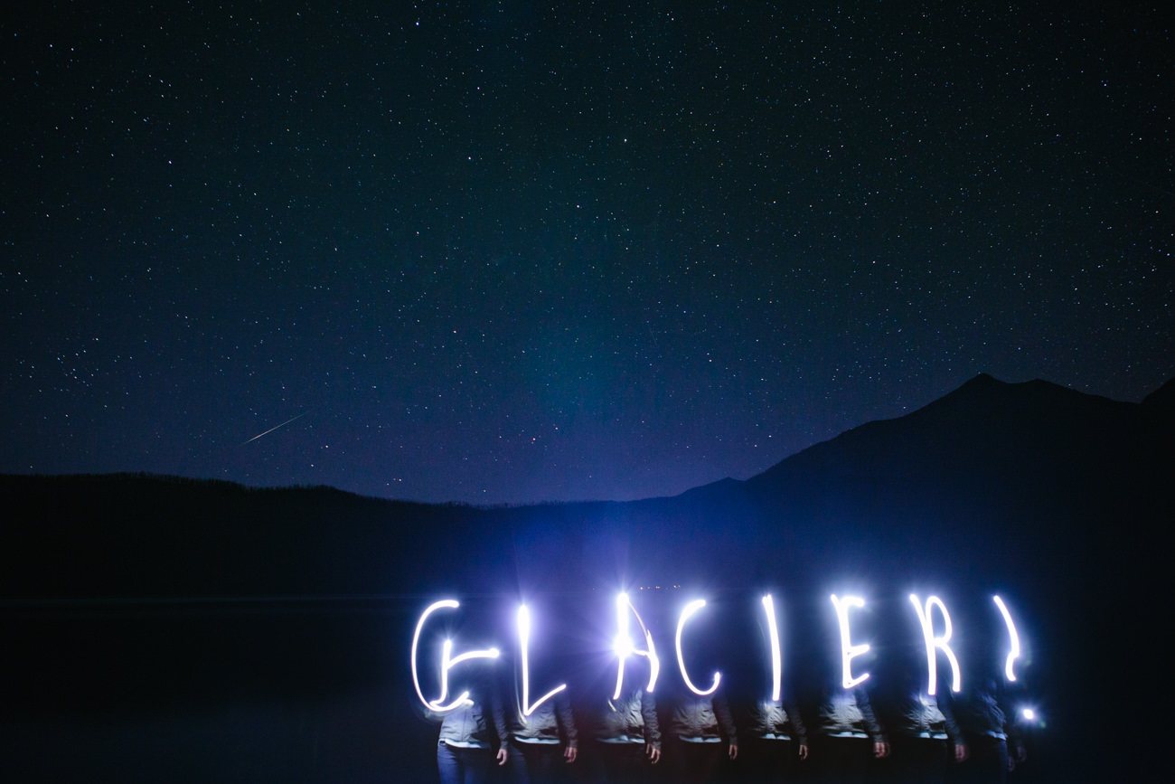 Glacier light painting against a night sky at Lake McDonald in Glacier National Park